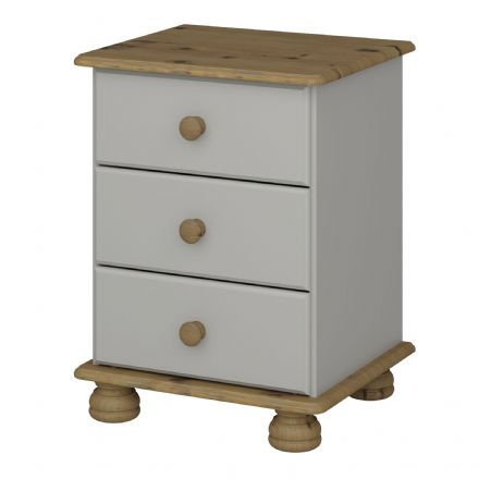 Grey and Pine 3 Drawer Bedside Cabinet